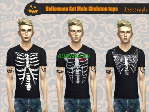 Halloween Set Male Skeleton Tops от dx8seraph