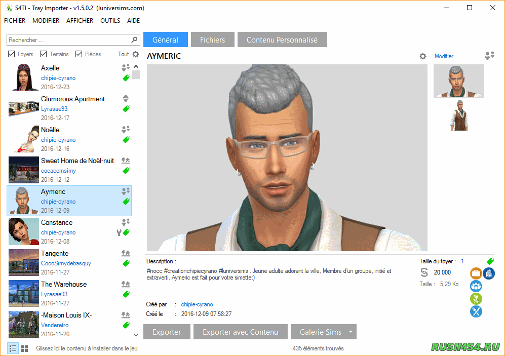 Tray Importer для SIMS 4